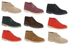 Mens Womens Suede Desert Boots Lace up Fashion Ankle Smart Shoes Black Brown Red