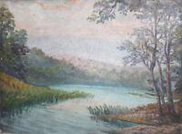 Antique oil painting impressionist river landscape