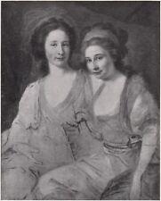 D8239 Giovanni Battista Lampi - Ritratto delle Contessine Tomatis - 1931 stampa