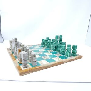 Vintage Green Jade And Marble Aztec Warrior Chess Set Complete