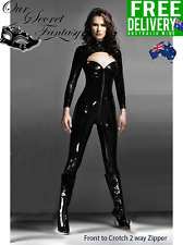 Ultra Sexy Black Key Hole Heart Shape Bust Two Way Zip Fetish  Catsuit (B1016)