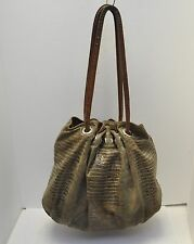 Large Colored Snake Skin Leather Hobo Bag by Chez