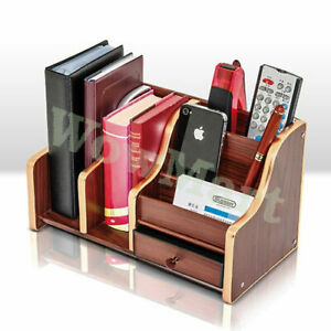 Home Office Wooden Mobile Phone Stationery Pen Remote Holder Organizer Drawer