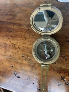 VINTAGE BRINTON WWI MILITARY BRASS COMPASS 1914 MKI THOS J EVANS ESQ LONDON