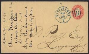 US 1861 CIVIL WAR TIME BLUE CINCINNATI OHIO CANCEL Sc U27 TO LOGANSPORT IND