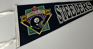 "Vintage Pittsburgh Steelers Felt Pennant EST. 1933 NFL Logo Spellout 30"" 1970's"