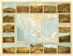 "1885 Map Carta Minera Gold Silver production in Mexico Historic 11""x14"" Print"