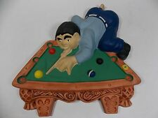 Vintage Pool Table Billiards Cast Plaster Wall Hanging for Bar Tavern Man Cave