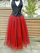 womens tutu skirt tulle black red long gothic adult prom petticoat steampunk