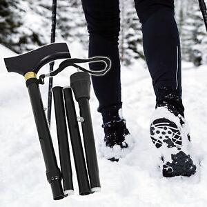 Folding Adjustable Snow / Ice Spike Tip Winter Walking Stick / Cane - Black