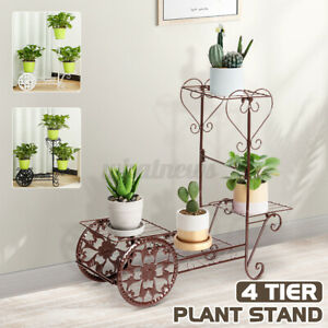 4 Tier Plant Stand Metal Flower Pot Holder Display Shelf Garden Outdoor Decor