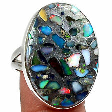 Natural Ethiopian Opal Set In Pyrite 925 Silver Ring Jewellery Size Uk Q Us 8.5
