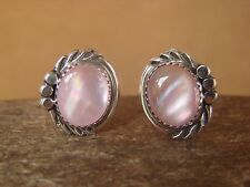 Native American Sterling Silver Pink Shell Clip On Earrings by Delores Cadman