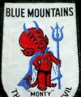 Blue Mountain Devil MONTY Woven Australia Travel Patch Badge Vintage Souvenir