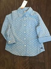 NWT~Gymboree BRIGHT IDEAS chambray dot LS button up top~4