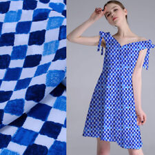 Geometric design blue and white gingham print silk Crepe DE chine fabric,SCDC762