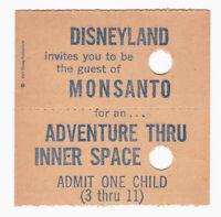Vintage Disneyland Child Ticket Monsanto Adventure Thru Inner Space c1967