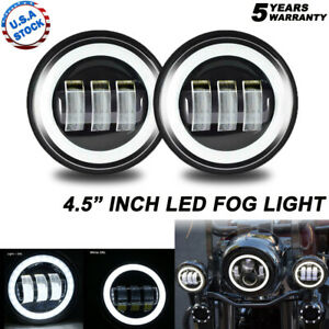 """Pair 4.5"""" inch LED Projector Round Fog Light Angel Eyes Halo Motorcycle Ring DRL"""