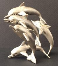 Dolphin Family Figure Paper Weight  Sterling Silver++ 950 Silver