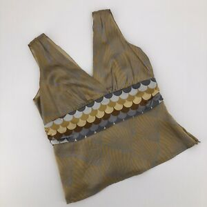 Alice & Trixie Gold Gray Silk Tank Top  Size Small Halter Fitted Sleeveless Top