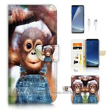 ( For Samsung S8 ) Wallet Case Cover P20503 Baby Monkey Gorilla