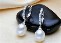 Damen Ohrringe 925 Sterling Silber Süßwasser Perlen AAA Rhodiniert Zirkonia AAA