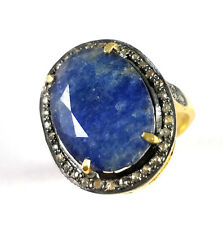 Pave Diamond Ring Blue Sapphire Ring  925 Sterling Silver Ring Lovely Gift