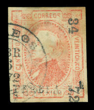 MEXICO 1872 Hidalgo 25c red  Watermarked - PUEBLA - 34 72 consg. Sc# 83 used VF
