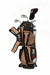 Golfset Golf36 Kinder Größe 1 (1,15 - 1,25 m) braun Golfschläger Standbag