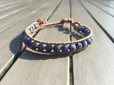 Lapis Lazuli Natural Crystal Bracelet Bead Friendship Surfer Beach Leather wrap