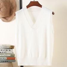 Womens Knit Sweater Vest Warm Pullover Knitwear Outwear sleeveless casual tops L