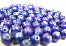 Glass Beads 8mm Round Purplish Blue DIY Jewelry Craft Making 65 pcs