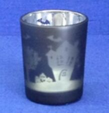 Votive or Tealight Candle Holder, Metallic Haunted House, Black, Halloween NEW