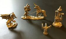Lot of 4 Pewter Spoontiques Figurines: Castle, Fairy & Unicorn, Wizard, Dragon