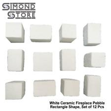 White Ceramic Fireplace Pebble Set 12 Pcs, Rectangle Shape