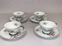 Arlen Purple Sage Fine China Seyei Japan Teacup Saucer Plate Set 4 Lot Vintage
