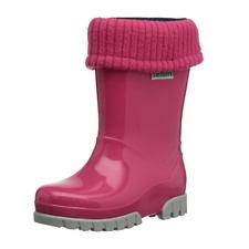 Girls Kids Pink Roll Top Wellington Boots Wellies Rain Winter Boot UK8-9 EU26/27