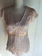 M&S Ladies Top capped sleeves Colour Pale peach interspersed with sequins