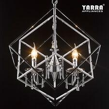 3-Light Chandelier Crystal Pendant Light Cubic Chrome Finish