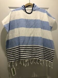 New With Tags Turkish T Kids Coverup Swim Pullover Terry Towel Blue Stripe