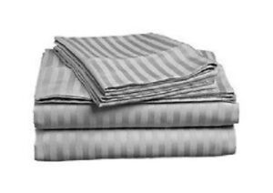 Light Gray Striped Queen Size Sheet Set 1000 Thread Count 100% Egyptian Cotton