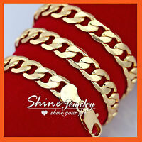 9K GOLD FILLED CHUNKY CUBAN CURB RING CHAIN FLAT 12MM SOLID HEAVY MENS NECKLACE