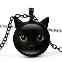 Painting Black Cat Necklace For Pet Lovers Cat Pendant With Ears Jewelry Fashion