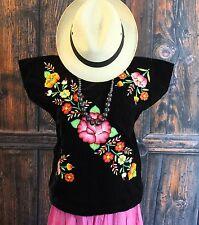 Floral Hand Embroidered Tehuana Mexico Black Velvet Huipil Frida Kahlo Cowgirl