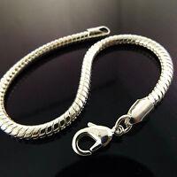 Bracelet Bangle Cuff Real 925 Sterling Silver S/F Solid Unisex Snake Link Design
