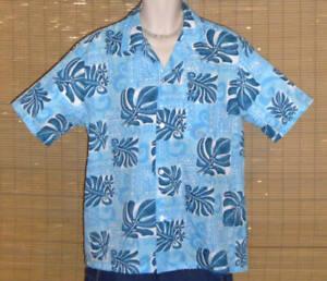 Howie Hawaiian Shirt Light Blue with Dark Blue Floral print Medium LN