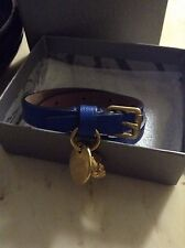 Alexander McQueen Royal Blue Leather Wrap Bracelet