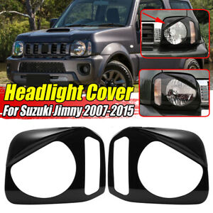 Pair ABS Front Headlight Lamp Cover Trim Bezels For Suzuki Jimny 2007-2015 Black