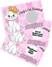 PERSONALIZED ARISTOCATS SCRATCH OFF OFFS PARTY GAME GAMES CARDS BIRTHDAY FAVORS