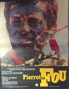 PIERROT LE FOU Belmondo, Karina, Godard, affiche ressortie 40x55